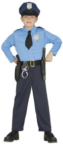 Boys Muscle Chest Police Man Fancy Dress Costume