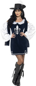 Ladies Musketeer Fancy Dress Costume