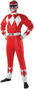 Mens 90s Red Ranger Fancy Dress Costume