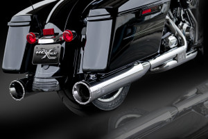 "RCX Exhaust 4.5"" Slip-on Mufflers, Chrome with Rage Chrome Tips."