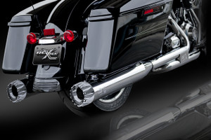 "RCX Exhaust 4.5"" Slip-on Mufflers, Chrome with Excalibur Chrome Tips."