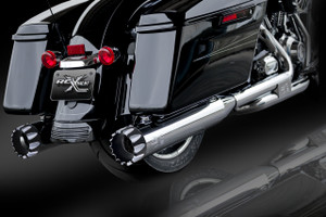 "RCX Exhaust 4.5"" Slip-on Mufflers, Chrome with Excalibur Eclipse Tips."