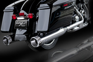 "RCX Exhaust 4.5"" Slip-on Mufflers, Chrome with Rival Chrome Tips."