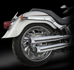 "RCX Exhaust  3.0"" slip-on mufflers with Excalibur chrome tips."