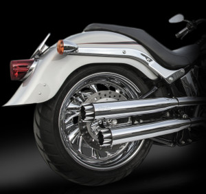 "RCX Exhaust  3.0"" slip-on mufflers with Excalibur Eclipse tips."