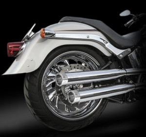 "RCX Exhaust  3.0"" slip-on mufflers with Rival chrome tips."