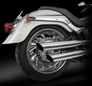 "RCX Exhaust  3.0"" slash cut slip-on mufflers."