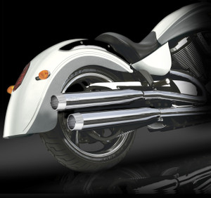 "RCX Victory Exhaust  3.0"" slip-on mufflers with Blitz chrome tips."