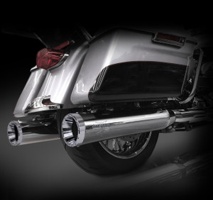 """RCX Exhaust 4.5"""" Slip-on Mufflers for 2017 Harley Touring, Chrome with Rage Chrome Tips."""