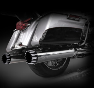 """RCX Exhaust 4.5"""" Slip-on Mufflers for 2017 Harley Touring, Chrome with Excalibur Eclipse Tips."""