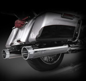 """RCX Exhaust 4.5"""" Slip-on Mufflers for 2017 Harley Touring, Chrome with Rival Chrome Tips."""