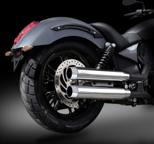 "Victory Octane RCX 3.0"" chrome mufflers with Blitz Chrome tips."
