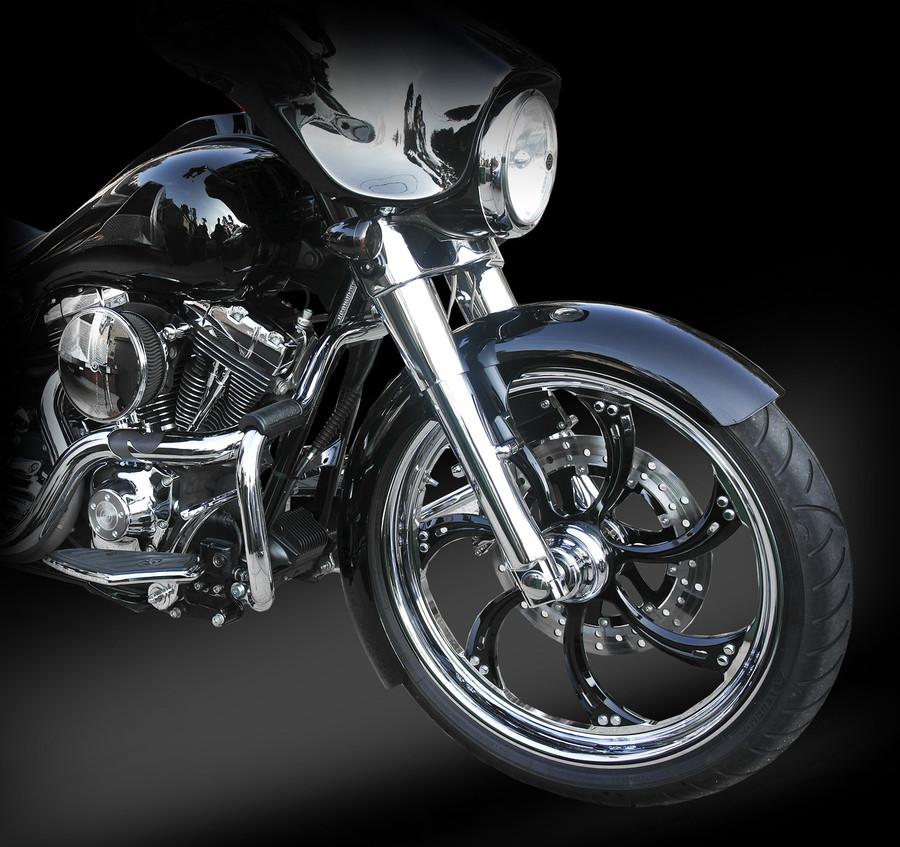 16 gauge, steel fender kit for 21x3.5 front wheel for H-D Touring Models.