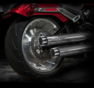 "RCX 3.0"" Slip-on Mufflers (Shown with chrome mufflers w/ Excalibur Eclipse tips)"