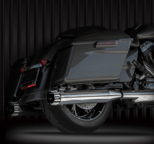 """RCX Exhaust 4.0"""" Slip-on Mufflers, Chrome with Rouge Eclipse Tips."""