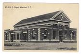 Aberdeen, South Dakota Postcard:  M. & St. L. Railroad Station