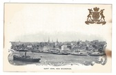 Saint John, New Brunswick, Canada Patriotic Private Mailing Card:  View of Port and City