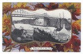 St. John, New Brunswick, Canada Patriotic Postcard:  Bridges and Falls