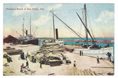 San Pedro, California Postcard:  Shipping Wood Scene