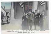 Millbury, Massachusetts Postcard:  President Taft & His Aunt Leaving Church in 1910