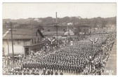 Peoria, Illinois Real Photo Postcard:  1929 Parade Near Billiard Parlor