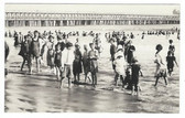 Long Beach, California Real Photo Postcard:  Bathers in Front of Pier