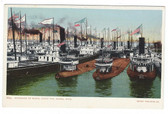 Sault Ste. Marie, Michigan Postcard:  Blockade of Boats