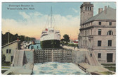 Soo, Michigan Postcard:  Passenger Steamer in Weitzel Lock