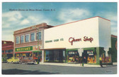 Union, South Carolina Linen Postcard:  Modern Stores on Main Street