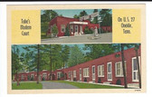 Oneida, Tennessee Postcard:  Tobe's Modern Court & Gas Station