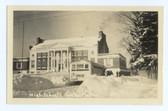Wells, Maine Real Photo Postcard:  High School & School Bus in Winter