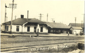 Columbus Junction, Iowa Real Photo Postcard:  Railroad Station