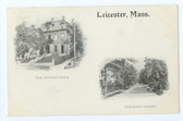 Leicester, Massachusetts Postcard:  The Savings Bank & Pleasant Street