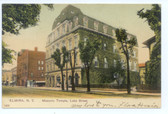 Elmira, New York Postcard:  Masonic Temple on Lake Street