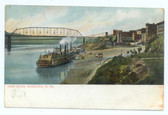Wheeling, West Virginia Postcard:  Steamboat Landing on Ohio River