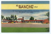 Reno, Nevada Linen Postcard:  The Rancho Motel