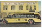 Wells, Nevada Postcard:  Allen Hotel & Restaurant & Trailways Bus