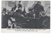 Worcester, Massachusetts Postcard:  President Taft Leaving Mechanics Hall After Addressing Convention in 1910
