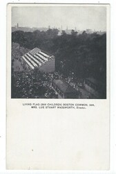 Boston, Massachusetts Postcard:  1904 Living Flag on Boston Common