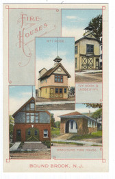 Bound Brook, New Jersey Postcard:  3 Fire Stations