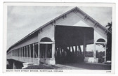 Rushville, Indiana Postcard:  South Main Street Covered Bridge