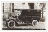 Moline, Illinois Real Photo Postcard:  Police Department Old Truck