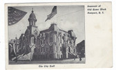 Newport, Rhode Island Private Mailing Card:  City Hall in Flags for Old Home Week