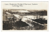 Cambridge, Massachusetts Real Photo Postcard:  Bridge & Harvard Stadium