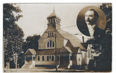 Amesbury, Massachusetts Real Photo Postcard:  M.E. Church & Pastor