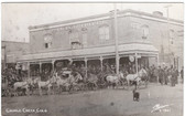 Cripple Creek, Colorado Postcard:  Palace Hotel & Horses