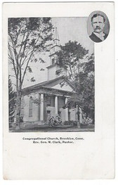 Brooklyn, Connecticut Postcard:  Congregatonal Church and Pastor