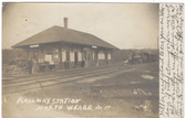 North Weare, New Hampshire Real Photo Postcard:  Railroad Station