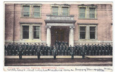 Bridgeport, Connecticut Postcard:  Police Department Lined Up in Front of Police and Charities Building