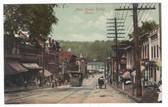 Derby, Connecticut Postcard:  Main Street & Trolley Car